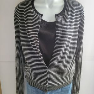 ANN TAYLOR black and white striped cardigan